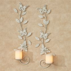 London Butterfly Wall Sconces Ivory Set of Two