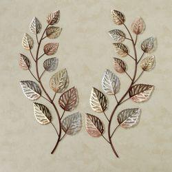 Glistening Leaves Autumn Wall Art Multi Metallic Set of Two