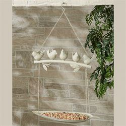 Perched Birds Hanging Feeder Ivory