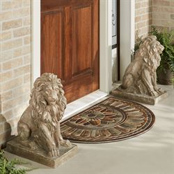 Lions at Guard Sculptures Sand Set of Two