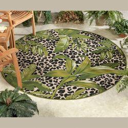 Exotic Safari Round Rug Green 66 Round