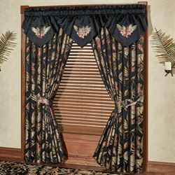 Barbados Embroidered Ascot Valance Black 40 x 21