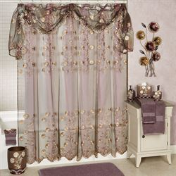 Ombre Rose II Sheer Embroidered Shower Curtain Purple 70 x 72