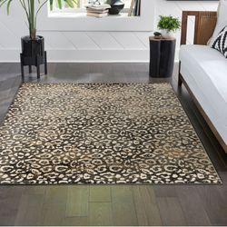 Leopard Rectangle Rug Black