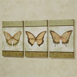 Le Papillon Butterfly Canvas Wall Art Fern Set of Three