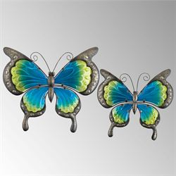 Butterfly Dance Wall Art Blue Set of Two