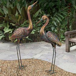 Serenade Crane with Head Up Sculpture Copper