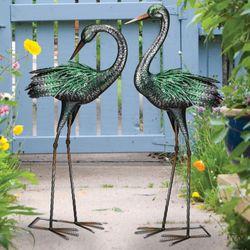 Crane Dance Outdoor Sculptures Green Set of Two