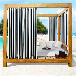 Bayport Stripe Semi Sheer Wide Curtain Pair