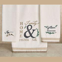 Modern Farmhouse Bath Towel Set Off White Bath Hand Fingertip