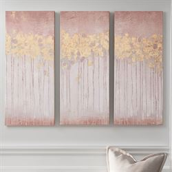 Twilight Forest Canvas Wall Art Pink Set of Three