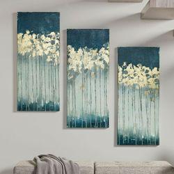 Midnight Forest Canvas Wall Art Blue Set of Three