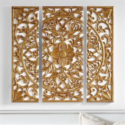 Gold Medallion Wall Art Set of Three