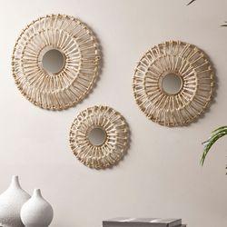 Ella Corn Leaves Mirrored Metal Wall Decor Gold Set of Three