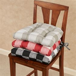 Campbell Buffalo Check Chair Pad Cushions Set of Two