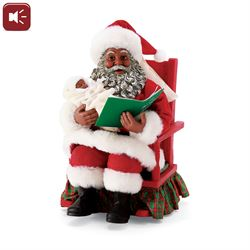 Babys First Christmas Story Clothtique African American Santa Figurine Red