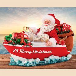 Motorboat Motorboat Clothtique Santa Figurine Red