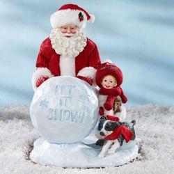 Let It Snow Clothtique Santa Figurine Red