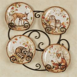 Pine Forest Dessert Plates Multi Earth Set of Four