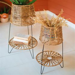 Seagrass Plant Stands Natural Set of Two