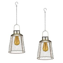 Bell Pendant Solar Lanterns Gray Set of Two