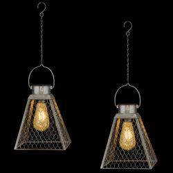 Tria Pendant Solar Lanterns Gray Set of Two