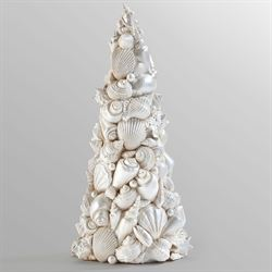 Seashell Christmas Tree Table Accent White