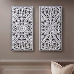 Botanical Wall Art White Set of Two