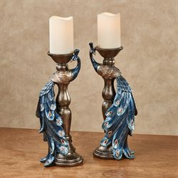 Priscilla Peacocks Candleholders Blue Set of Two