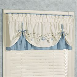Vintage Charm Layered Valance Dusty Blue 60 x 18