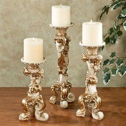 Oliviana Candleholder Set Ivory/Gold Set of Three