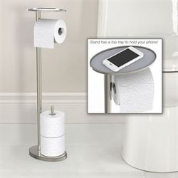 Toilet Paper Stand with Phone Tray Chrome