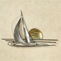 Sails at Sunset Metal Wall Sculpture Multi Metallic