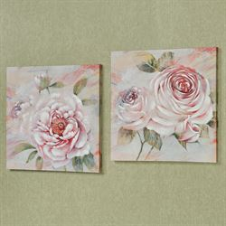 Tickled Pink Floral Canvas Wall Art Set of Two