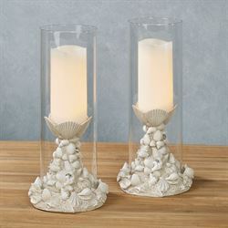 Seashell Melange Candleholders Antique White Pair