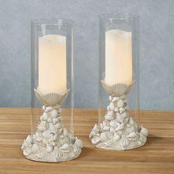 Seashell Melange Candleholders Antique White Pair