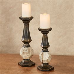 Zane Candleholders Black/Gold Set of Two