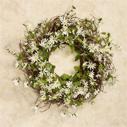Wild Daisies Floral Wreath White