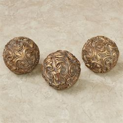 Astrella Decorative Orbs Aged Gold Set of Three