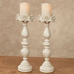 Magnolias Candleholders Antique White Pair
