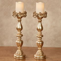 Magnolias Candleholders Gold Pair