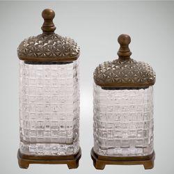 Jamelia Covered Glass Jars Brown Set of Two