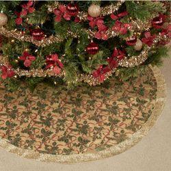 Holly Ribbon Christmas Tree Skirt Gold 48 Diameter