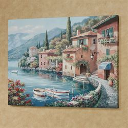 Italian Harbor Canvas Wall Art Multi Warm