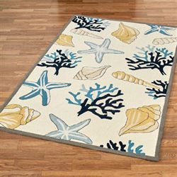 Seashore Treasures Rectangle Rug Ivory
