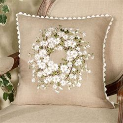 Daisy Wreath Pillow Beige 17 Square