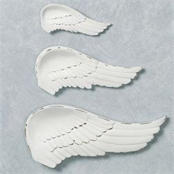 Wing and a Prayer Wall Plaques Weathered White Set of Three