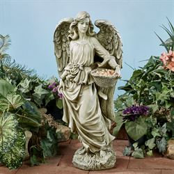 Angel with Basket Garden Statue Pale Green