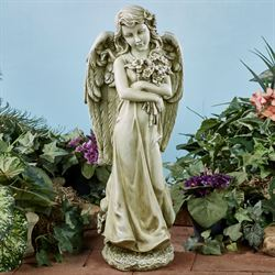 Bouquet Hugging Angel Garden Statue Pale Green