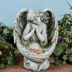 Angel Bird Feeder Garden Statue Gray